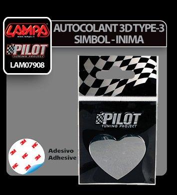 Autocolant 3D crom Type-3 (28 mm) simbol - Inima