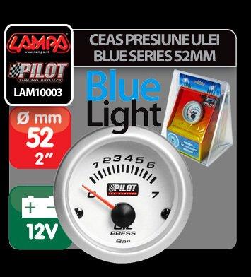 Ceas presiune ulei Blue series 52 mm