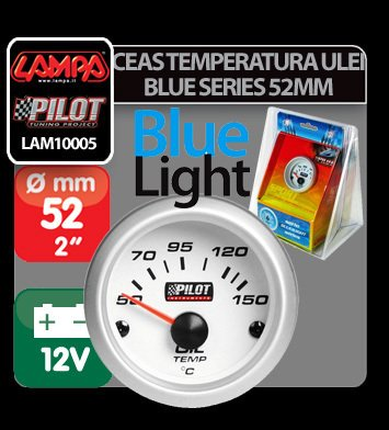 Ceas temperatura ulei Blue series 52 mm