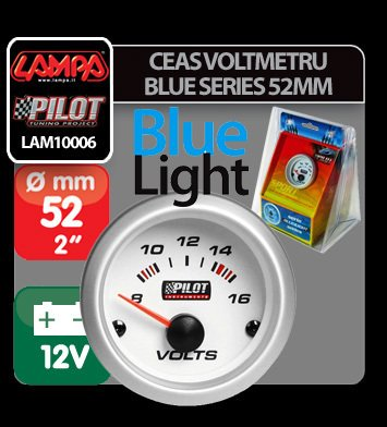 Ceas voltmetru Blue series 52 mm