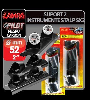 Suport 2 instrumente stalp SX2 (52 mm) - Negru - Stanga