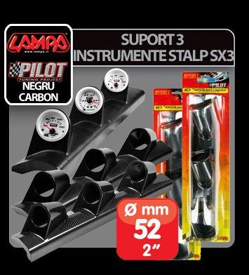 Suport 3 instrumente stalp SX3 (52 mm) - Negru - Stanga