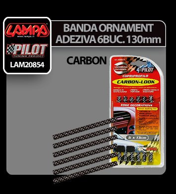Banda ornament carbon adeziva 6 buc - 130 mm