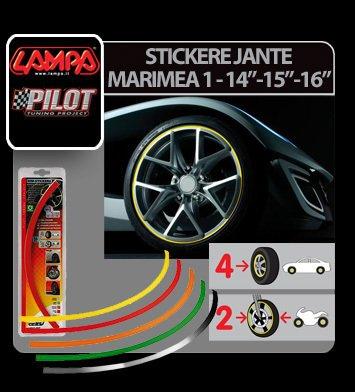 """Stickere jante auto Marimea 1 - 14""""-15""""-16"""" - Galben"""