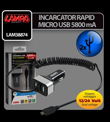 Incarcator rapid micro USB plus 2 porturi USB 5800mA 12/24V