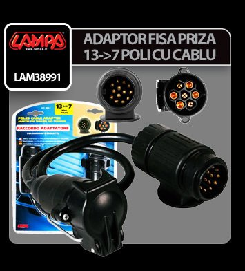 Adaptor fisa priza remorca 13-7 poli cu cablu 40 cm