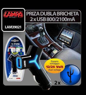 Priza dubla USB la bricheta 12/24V - 800/2100 mA