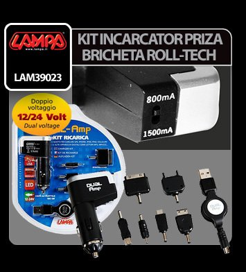Kit incarcator priza Roll-Tech la bricheta 12/24V - 800/1500 mA