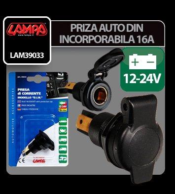 Priza auto incorporabila DIN - 12/24V 16A - Lampa