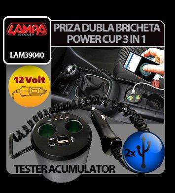 Priza dubla Power Cup 3 in 1 la bricheta tester acum. + USB 12V