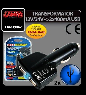 Transformator curent de la 12V/24V la 2x500 mA USB