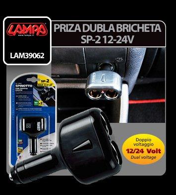 Priza dubla bricheta SP-2 12/24V Lampa