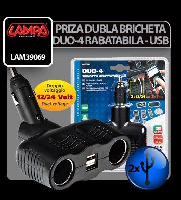 Priza dubla rabatabila Duo-4 la bricheta 12/24V + USB