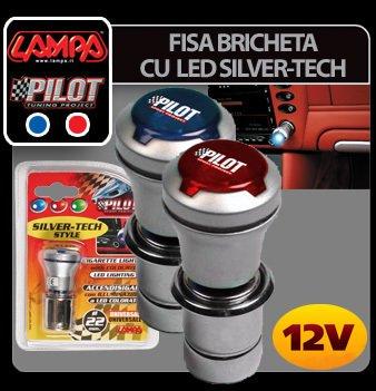 Fisa bricheta cu led Silver-Tech 12V - Rosu