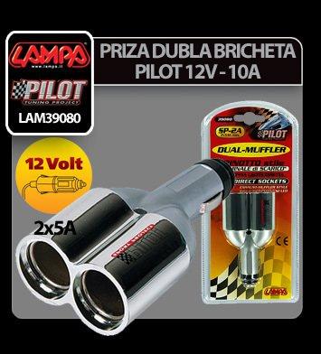 Priza dubla bricheta Pilot 12V