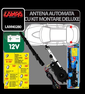 Antena complet automata cu kit montare De-Luxe Lampa 12V