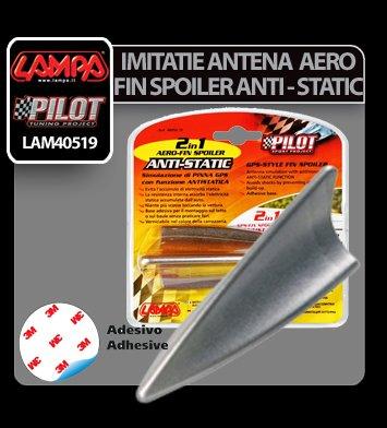Imitatie antena Aero-Fin Spoiler Anti-Static 2 in 1 - Argintiu