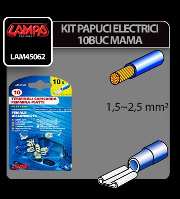 Papuci electrici 10 buc, mama - 6,3x0,8 mm - Albastru