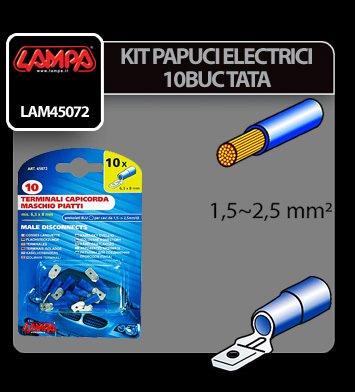 Papuci electrici 10 buc, tata - 6,3x0,8 mm - Albastru