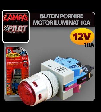 Buton pornire motor iluminat 12V 10A - Albastru