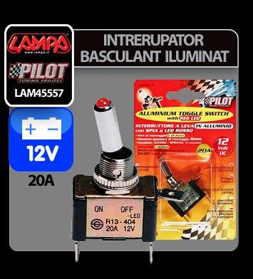 Intrerupator basculant cu LED, 2 terminale 12V - 20A - Rosu