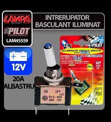 Intrerupator basculant cu LED, 2 terminale 12V - 20A - Albastru