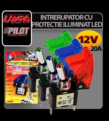 Intrerupator cu protectie iluminat cu led 12V-20A - Verde