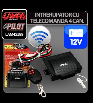 Intrerupator cu telecomanda 4 canale - 12V