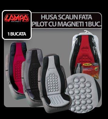Husa scaun fata Pilot cu magneti 1buc - Negru/Gri