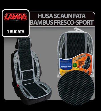 Husa scaun fata bambus Fresco-Sport 1buc - Negru/Gri