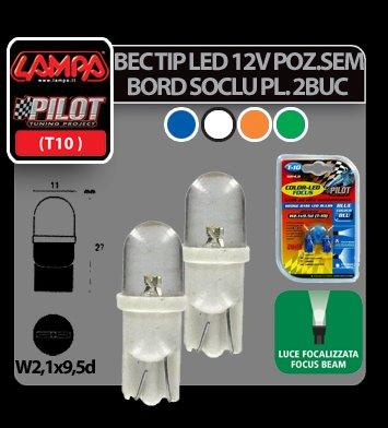 Bec tip LED 12V soclu pl. T10 W2,1X9,5d 2buc Albastru focalizat