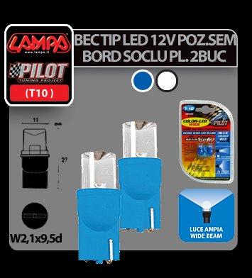 Bec tip LED 12V soclu pl. T10 W2,1X9,5d 2buc Alb dispersat