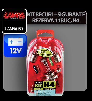 Kit becuri si sigurante 11 buc, 12V - halogen H4 P43