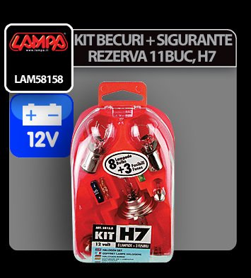 Kit becuri si sigurante 11 buc, 12V - halogen H7