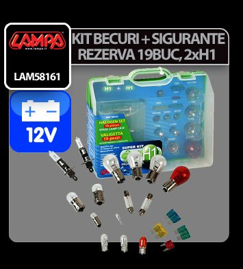 Kit becuri si sigurante 19 buc, 12V - halogen 2xH1
