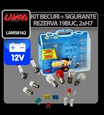 Kit becuri si sigurante 19 buc, 12V - halogen 2xH7