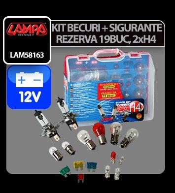 Kit becuri si sigurante 19 buc, 12V - halogen 2xH4 P43