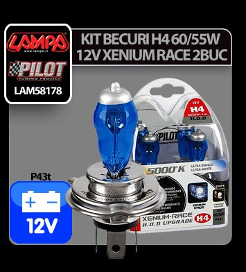 Kit becuri H4 60/55W P43t 12V Xenium Race 2buc