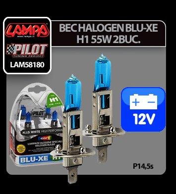 Bec halogen Blu-Xe  H1 55W P14,5s 12V 2buc