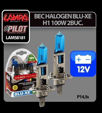 Bec halogen Blu-Xe  H1 100W P14,5s 12V 2buc