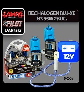 Bec halogen Blu-Xe  H3 55W PK22s 12V 2buc