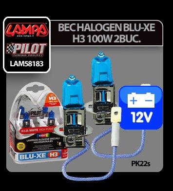 Bec halogen Blu-Xe  H3 100W PK22s 12V 2buc