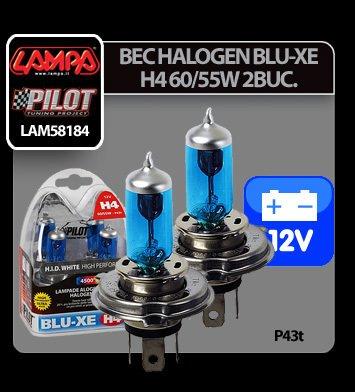 Bec halogen Blu-Xe  H4 60/55W P43t 12V 2buc