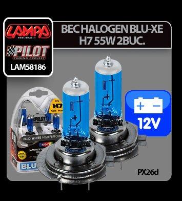Bec halogen Blu-Xe  H7 55W PX26d 12V 2buc