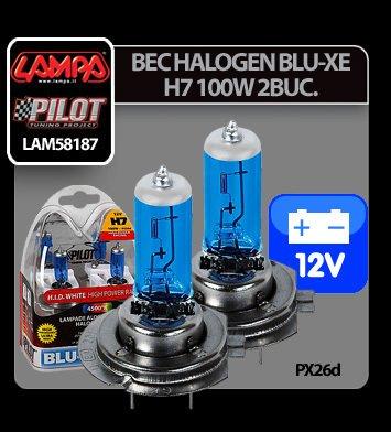 Bec halogen Blu-Xe  H7 100W PX26d 12V 2buc
