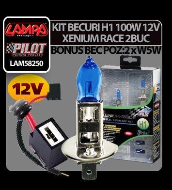 Kit becuri H1 100W 12V Xenium Race 2buc + Pachet bonus