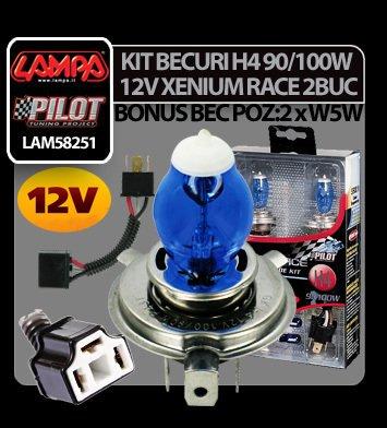 Kit becuri H4 90/100W P43t 12V Xenium Race 2buc + Pachet bonus