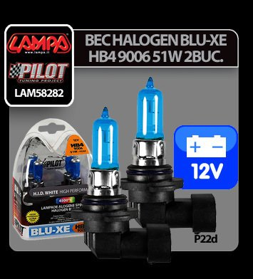 Bec halogen Blu-Xe  HB4 9006 51W P22d 12V 2buc