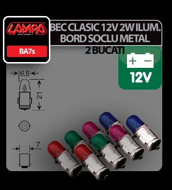 Bec clasic 2W 12V iluminat bord soclu metal BA7s 2buc - Violet