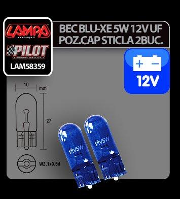 Bec Blu-Xe 5W 12V pozitie cap sticla W2,1x9,5d 2buc